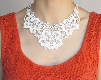 Clearance white cotton lace bib //statement necklace / vintage floral bib/ white lace choker / wedding necklace // gift for her