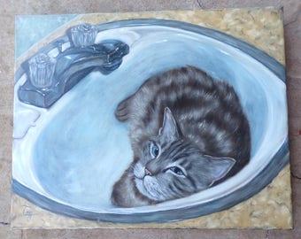 custom 16x20 pet portrait oil painting of YOUR pet