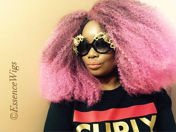 "Essence Wigs ""Pink Me Up"" Pink Afro Wig BIG Crochet Braid Wig Full Cap Natural Hair Type 4 Afro Punk Bold Colors Collection"
