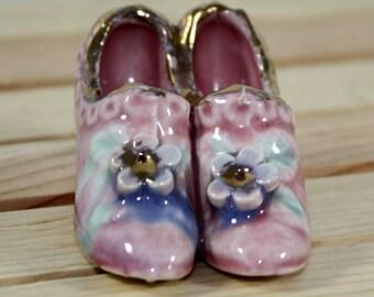 Tiny feminine pink ceramic slippers vintage