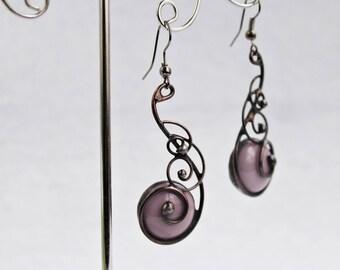 Cooper hoop earrings Long Spiral earrings spiral hoop earrings stainad glass earrings Spiral pink earrings Drop earrings wire glass earrings