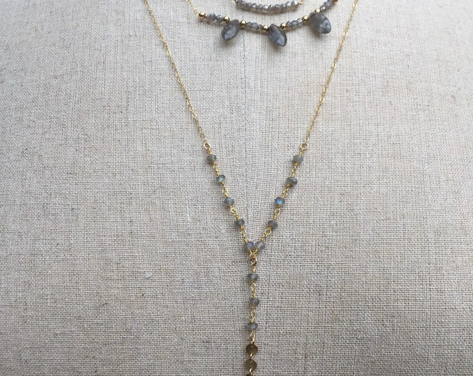 Labradorite Collection/Labradorite Beaded Lariat Pendant