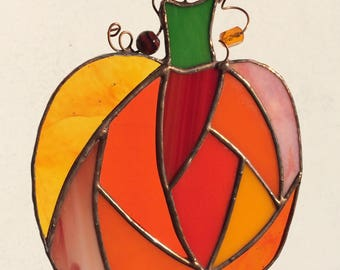 Stained Glass Patchwork Pumpkin Suncatcher in Oranges and Reds
