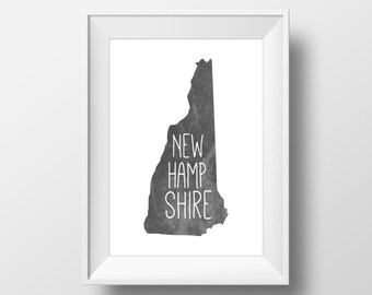 New Hampshire State Black Chalkboard Printable Art, New Hampshire Print, New Hampshire Art, Modern Art,