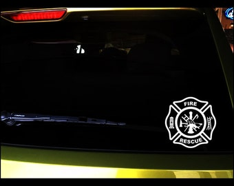 """Car decals in 2 sizes """"Fire Rescue"""" fireman seal, vinyl, vehicle vinyl, vinyl decal, sticker, fireman seal, OUTDOOR"""