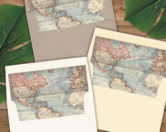 Map Envelope Liners A2 Size - Square Flap - Rose Gold - for your travel theme invitations - Pack of 25