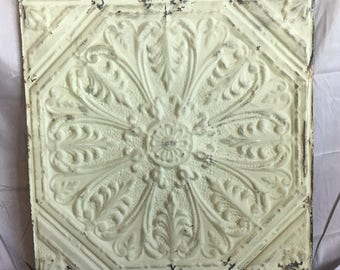 "24""x 24"" Antique 1890's Ceiling Tin Sage Green Embossed Reclaimed 67-17i"