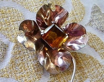 Sterling Silver Floral Pin Brooch -- Large , Vintage Collectible Jewelry  --  Gift ?