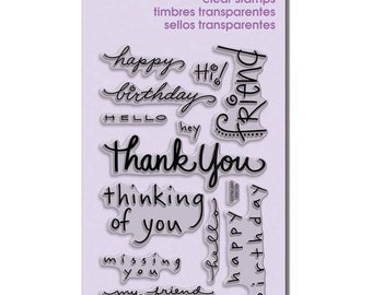 Stampendous HAPPY MESSAGES Clear Acrylic Stamp Set - Thank you Friend, Thinking of you - CS071