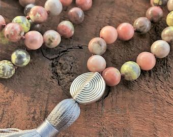 Natural Pink Jasper, Mala Necklace, Tassel Necklace, 108 Prayer Beads, Healing Necklace, Yoga Bracelet, Chakra Necklace, Jasper Necklace