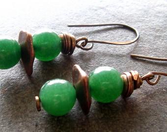 Jade Green Agate and Copper Earrings