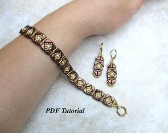 "Beaded Bracelet and Earrings Tutorial, Tango Beads Pattern, Beadweaving Pattern, Beading Design, Bead Tutorial, ""Ethno"" Jewelry Set"