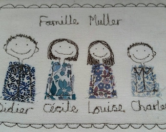 Custom Portrait - Family/Friends/Grandparents. Justsosara will design and make a personalised textile picture especially for you.
