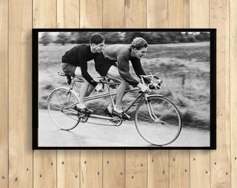 Cycling Poster -  Tandem Bicycles - Art Print Bicycle Poster Vintage Style Retro Design Cycling Print Vintage Tandem