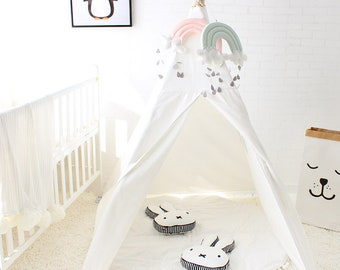 WHITE kids teepee play tent, children's teepee, playtent, tipi, wigwam, kids teepee, tent, play teepee, natural cotton tipi. blue, pink