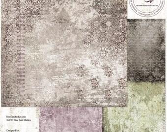 ON SALE Blue Fern Studios Remnants, Callaway 12x12 Scrapbook Paper, 2 pcs