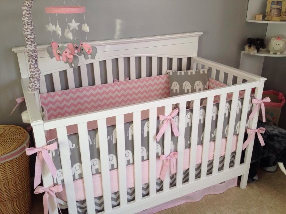 Baby Pink And Gray Elephant Crib Bedding Made To Order