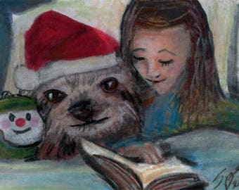 original art  aceo drawing red hat sloth girl reading book  bedtime