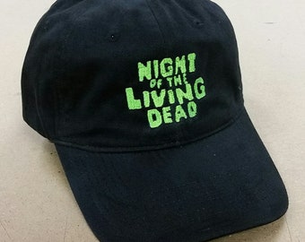 Mens adjustable black hat - Night of the Living Dead - embroidered