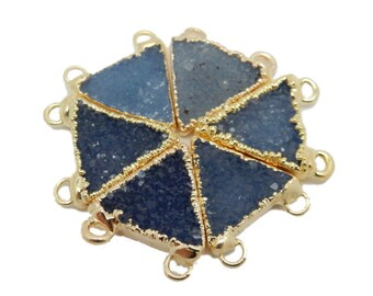 Blue Dyed Druzy Triangle Double Bail Pendants with Electroplated 24k Gold Edge (S82B20-08)