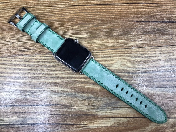 Apple Watch 42mm, Apple Watch Band, Green watch band, Leather Watch Band, Vintage, iwatch, Apple Watch 38mm,Apple watch strap, FREE SHIPPING