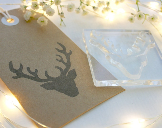 Stag - Stags Head Rubber Stamp - Traditional Stag - Rubber Stamp - Clear Stamp - Christmas Stag Stamp - Little Stamp Store - Tags - Sticky