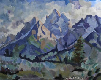 Clouds Over the Tetons Metal print of an original oil painting