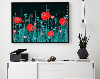 "Original Poppy Field Drawing - 8.3x11.7"" (A4) - One of a Kind"