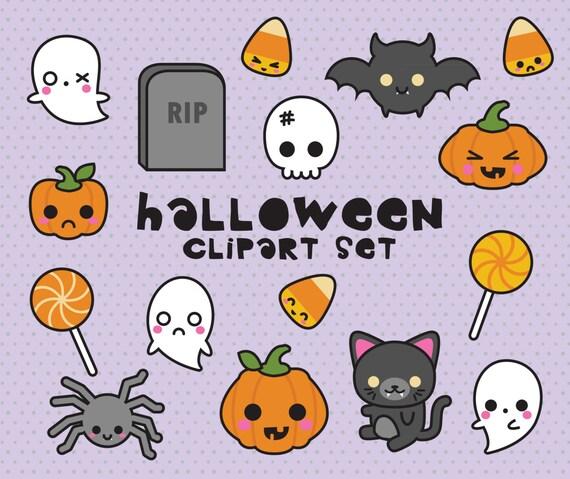 Premium Vector Clipart Kawaii Halloween Clipart Spooky