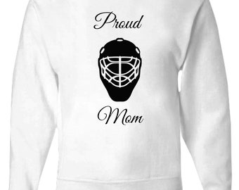 """Proud Mom Clothing - Mother's Day Clothing - Mother's Day Gift """"Proud Goalie Mom"""" White Zip Hoodie - Women's zip hoodie - Women's clothing"""