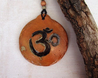 Pottery Aum Wall Hanging, handmade Ceramic Om Rounded Plaque, Spiritual and Mystical Art, Ready To Ship.