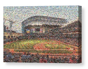Unique Houston Astros Mosaic Art Print of Minute Maid Park from over 300 Astro Great Player Trading Card Images Including all the Greats!