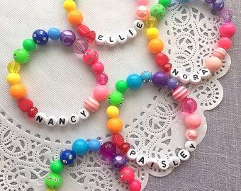 Personalized bracelet, name bracelet, ONE bracelet, unique name bracelet, kids jewelry, kids bracelet, beaded, birthday party gift.