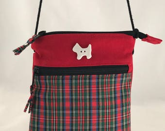 Red Plaid Cross Body Bag with Zippered Pocket