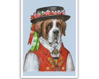 St Bernard Art Print - in a Swiss Costume - Dog Art Wall Decor - Swiss Artwork - Traditional Costume Art - Pet Portraits by Maria Pishvanova