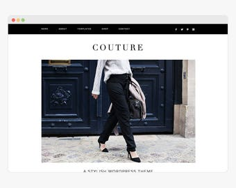 "NEW Wordpress Theme - Wordpress Fashion Theme - Genesis Theme - Stylish Blogger Theme - ""Couture"" Instant Digital Download"
