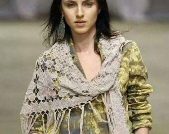 Lace  Shawl  .  Fringe Shawl  .  Handmad shawl . Shawl
