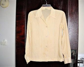 Vintage 60s Ladies Striped Shirt sz 12 Button Up Long Sleeve Yellow White Lady Manhattan