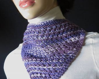 Scarves - Triangle cotton - head scarf - neck bandanna - babushka - Tweed - Mix of purples - Mixed Fiber primarily cotton - hand knit