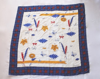 Vintage 1950s Blue, Red, and Yellow Silk Scarf with Feathers, Leaves and Butterflies by Sally Victor