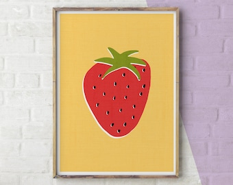 Strawberry Print, Kitchen Art, Kitchen Wall Art, Wall Art Kitchen, Kitchen Decor, Kitchen Prints, Strawberry, Kitchen, Printable, Print, Art