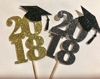 2018 Graduation Glitter Cupcake Toppers