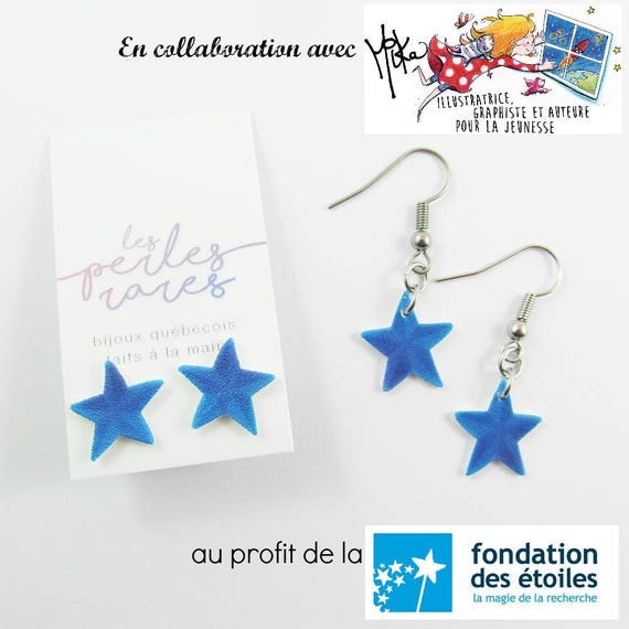 blue star, mika design, blue, star, stud, earring, shrink plastic, foundraising, stainless stud, nickel free, handmade, les perles rares
