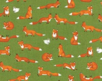 Forest Friends, Fox Fun by Ingrid Slyder for Moda in Grass Green 23142 14