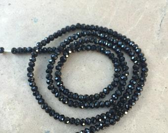 Black Spinel Faceted Rondelles, Black Spinel Beads, 2.5 mm, 16 inch strand