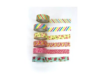 "6 Washi Tape SAMPLES, Decoration tape masking, Colorful Washi Tape patterns 38"", Florals and Stripes"