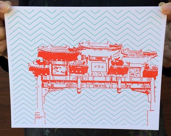 "Washington DC Letterpress Poster | Friendship Archway in Chinatown | red & blue 8"" x 10"" poster"