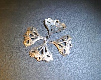 Set of 10 charms art nouveau floral pattern, for your creations, copper color