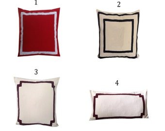 Border Pillows, Pillows with trims, Body Pillows with trim, Bedroom Trim Pillow, Long Sofa Pillows, 16x16, 18x18, 20x20, 24x24, 26x26, 20x54