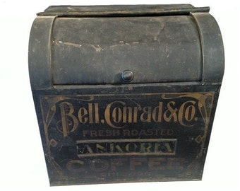 Great antique metal coffee bin by Bell, Conrad & Co.